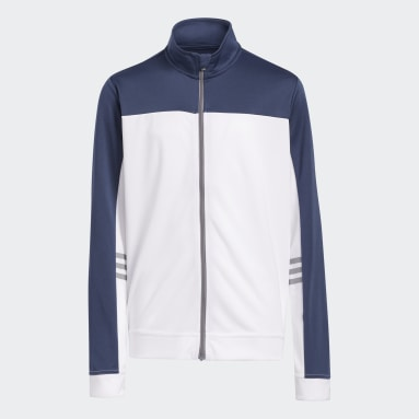 Boys Golf Blue 3-Stripes Full-Zip Jacket