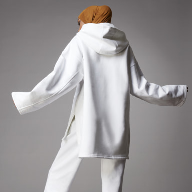 Frauen Originals adicolor Fleece Hoodie Weiß