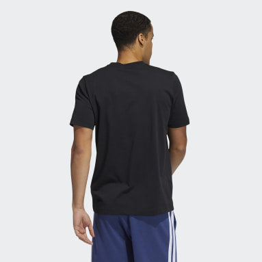Men Basketball Black Three Stripe Life Hoops Graphic Tee