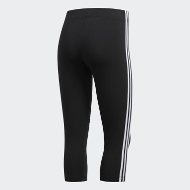 Women Lifestyle Black 3-Stripes 3/4 Tights
