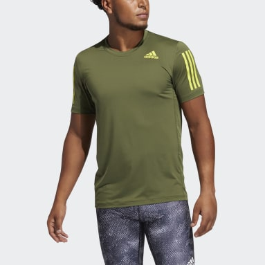 Men Cricket Green Techfit 3-Stripes Fitted T-Shirt