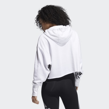 Women's Sportswear White Hooded Sweatshirt