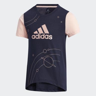 T-shirt Large Polyester Bleu Filles Fitness Et Training
