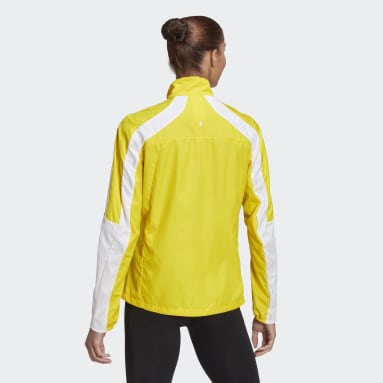 Women Running Yellow Marathon 3-Stripes Jacket
