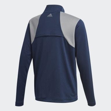 Boys Golf Blue 3-Stripes Half-Zip Pullover