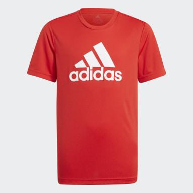 Boys Gym & Training Red adidas Designed To Move Big Logo Tee