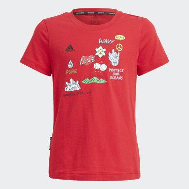 เด็กผู้หญิง ไลฟ์สไตล์ สีแดง เสื้อยืดพิมพ์ลาย Aaron Kai x adidas