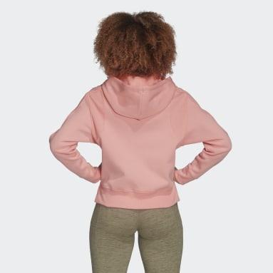 Women Sportswear Pink Ribbed Hoodie