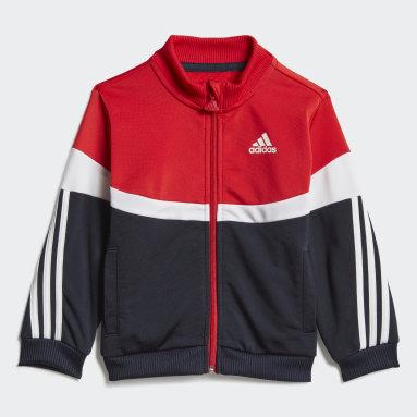 Børn Fitness Og Træning Rød Shiny Badge of Sport 3-Stripes træningsdragt