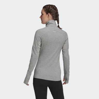Women Gym & Training Grey AEROREADY Designed 2 Move Cotton Touch 1/2-Zip Long Sleeve Tee