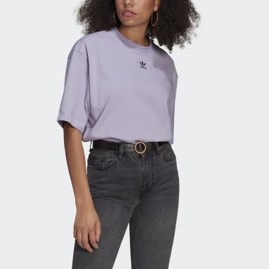 Women Originals Purple LOUNGEWEAR Adicolor Essentials Tee