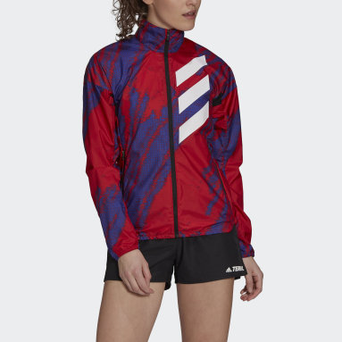 Women TERREX Red Terrex Parley Agravic Trail Running WIND.RDY Windbreaker