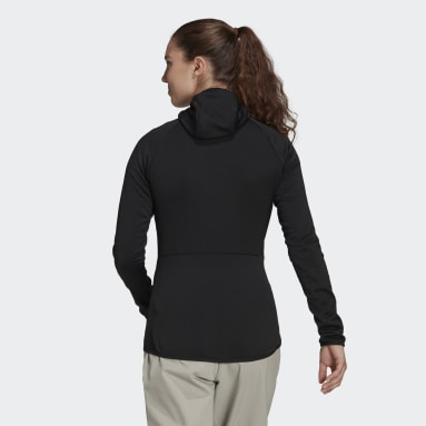 Women TERREX Black Terrex Tech Fleece Light Hooded Hiking Jacket