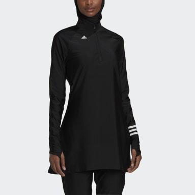 Dames Zwemmen zwart 3-Stripes Zwemshirt met Lange Mouwen
