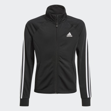 Girls Training Black 3-Stripes Team Primegreen Track Suit