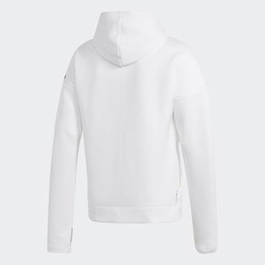 Men Sportswear White adidas Z.N.E. Hoodie featuring Fast Release Zipper