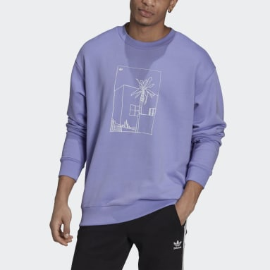 Men Originals Purple Graphic Crew Sweatshirt