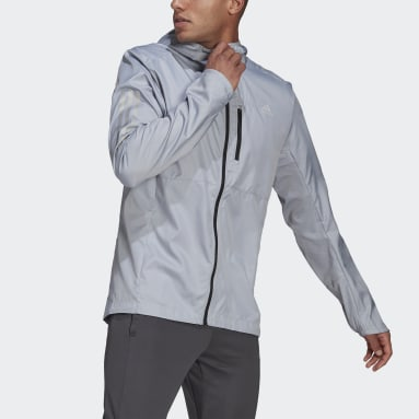 Men Running Grey Own the Run Hooded Windbreaker