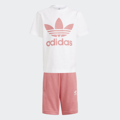 Kids Originals White Adicolor Shorts and Tee Set