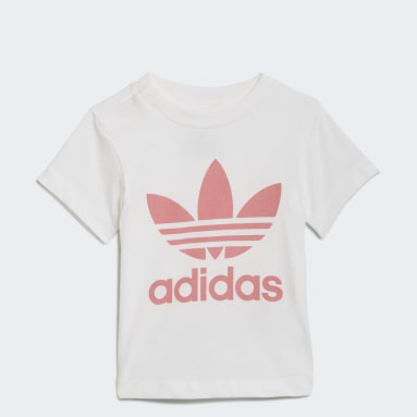 Kids Originals White Trefoil Tee