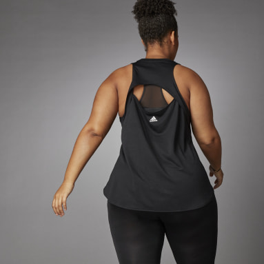 Camiseta sin mangas 3 Bar Logo (Tallas grandes) Negro Mujer Running