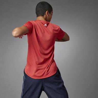 Women Cricket Red 3 Bar Logo T-Shirt