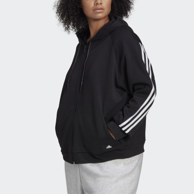 Women Sportswear Black adidas Sportswear Wrapped 3-Stripes Full-Zip Hoodie (Plus Size)
