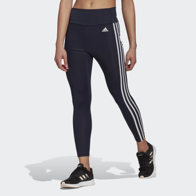 Women Training Blue Designed To Move High-Rise 3-Stripes 7/8 Sport Tights