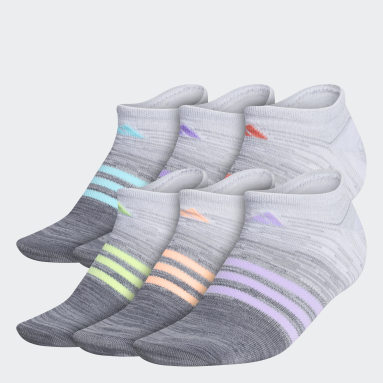 Women's Training Grey Superlite Multi Space Dye No-Show Socks 6 Pairs