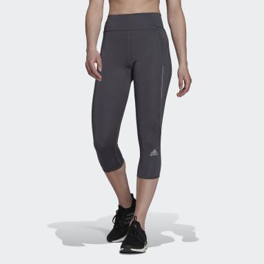 Women Running Grey Own The Run 3/4 Running Leggings
