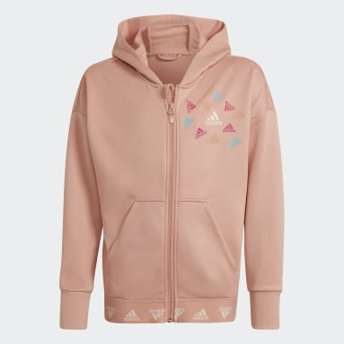 Youth 8-16 Years Gym & Training Pink AEROREADY Up2Move Cotton Touch Training Loose Full-Zip Hoodie