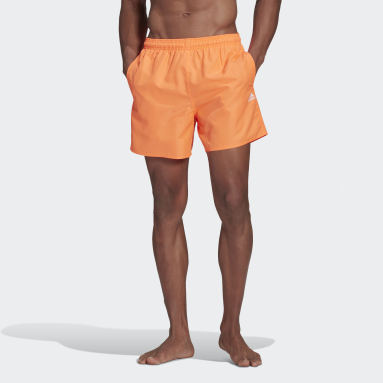 Men Swimming Orange Solid Swim Shorts