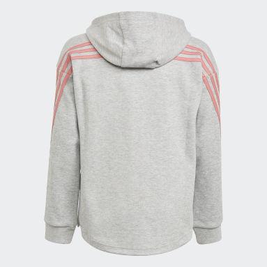 Girls Fitness Og Træning Grå 3-Stripes Full-Zip hættetrøje