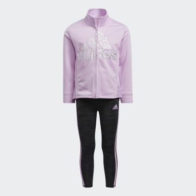 Children Training Purple Jacket and Mélange Tights Set