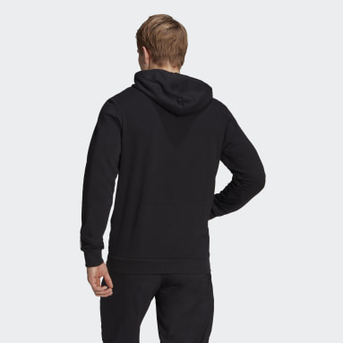 Männer Sportswear Essentials French Terry Linear Logo Hoodie Schwarz