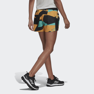 Women's TERREX Orange Terrex Primeblue Trail Graphic Shorts