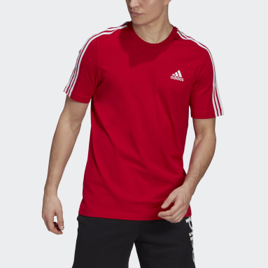 T-shirt Essentials 3-Stripes Rouge Hommes Sportswear