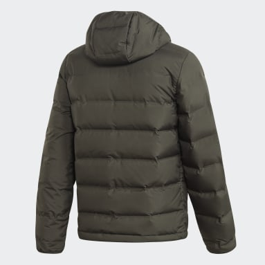 Men City Outdoor Green Helionic Hooded Down Jacket