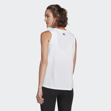 Women Sport Inspired White adidas Essentials Stacked Logo Tank Top