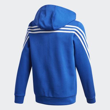 Felpa con cappuccio 3-Stripes Doubleknit Full-Zip Blu Ragazzo Fitness & Training