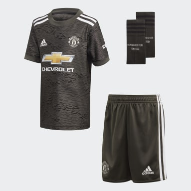 Kids Football Green Manchester United Away Mini Kit