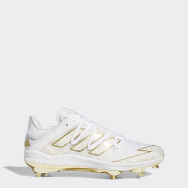Men's Baseball White Adizero Afterburner 7 Gold Cleats