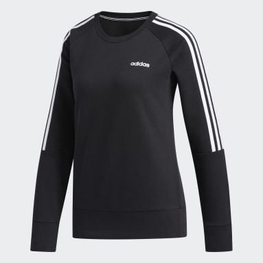 Women's Essentials Black 3-Stripes Crew Sweatshirt