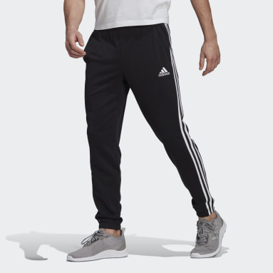 Men Sport Inspired Black Essentials French Terry Tapered 3-Stripes Pants