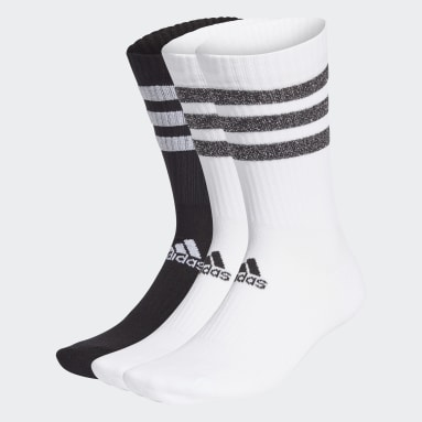 Tennis White Glam 3-Stripes Cushioned Crew Sport Socks 3 Pairs