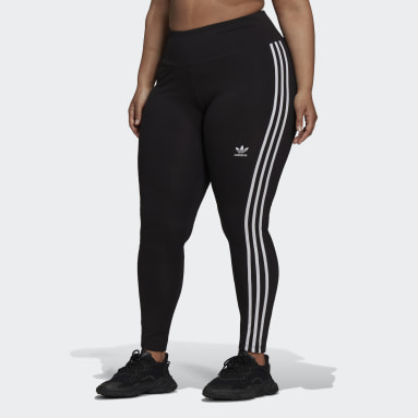 Ženy Originals čierna Legíny Adicolor Classics 3-Stripes (plus size)