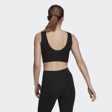 Crop top adidas Essentials 3-Stripes noir Femmes Sport Inspired