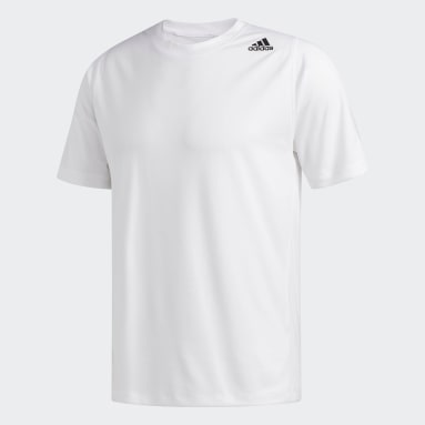 Playera FreeLift Sport Fitted 3-Stripes Blanco Hombre Training
