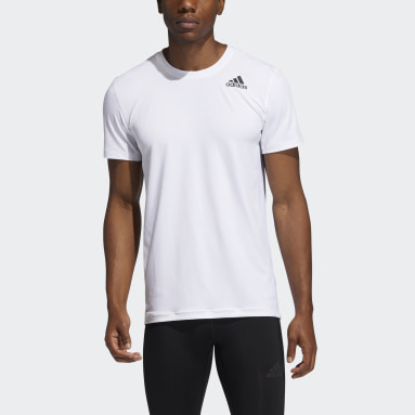 Herr Löpning Vit Techfit Compression Short Sleeve Tee
