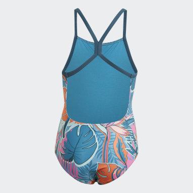 Girls Swimming Turquoise Flower Swimsuit
